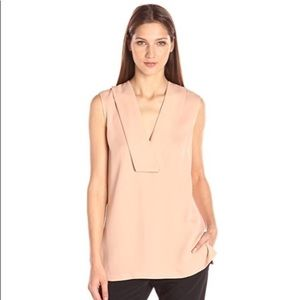 Theory Salvatill Classic Sleeve Less V-Neck Blouse